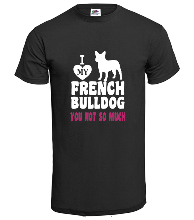 Tshirt-I LoveFransk Bulldog-T-Shirt-Herr-Svart
