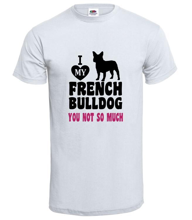 Tshirt-I LoveFransk Bulldog-T-Shirt-Herr-Vit