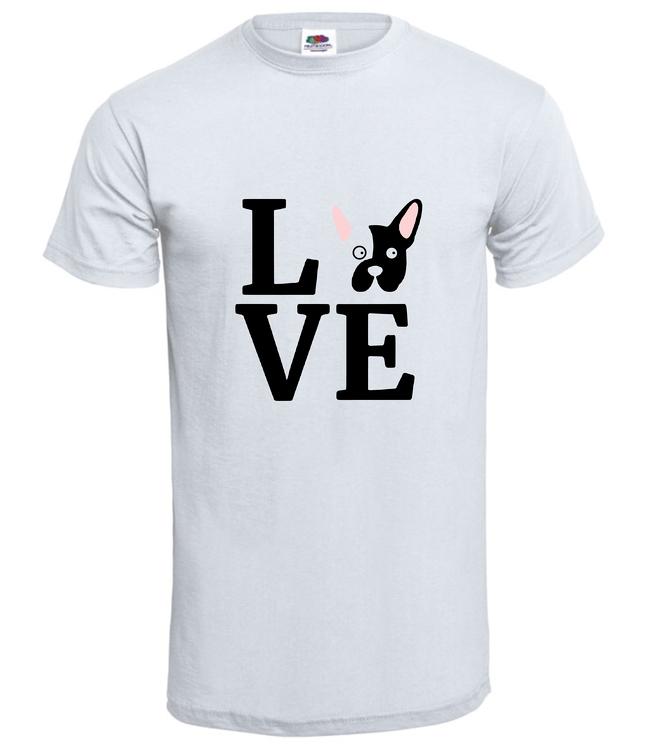 Tshirt-Fransk Bulldog Love-T-shirt-Vit