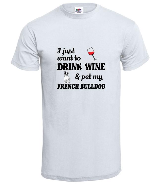 T-Shirt-Fransk Bulldog-Chillin-Vit-Tshirt herr