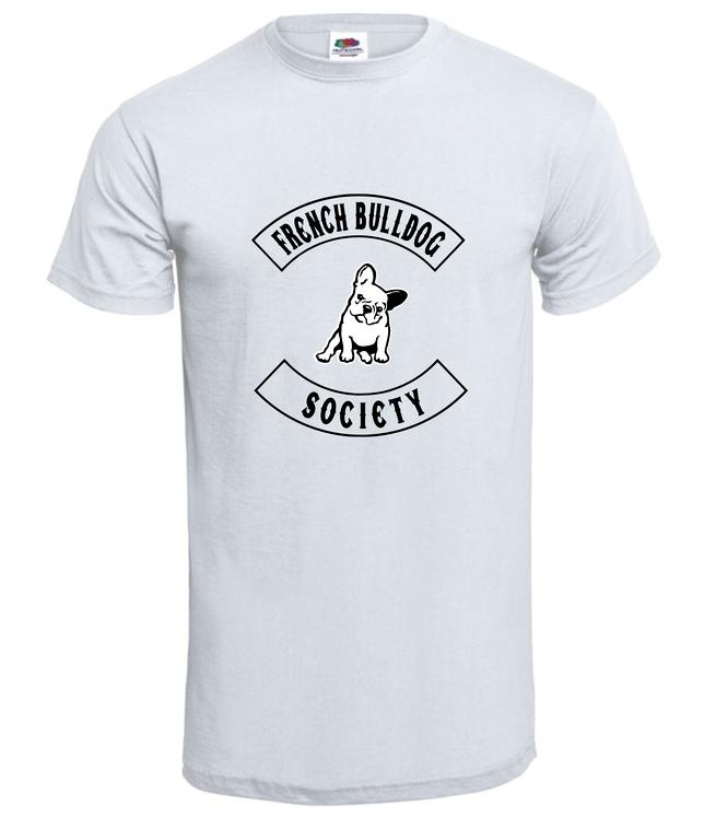 TShirt-franskbulldogsociety-Vit Herr-T-shirt -tryckfram