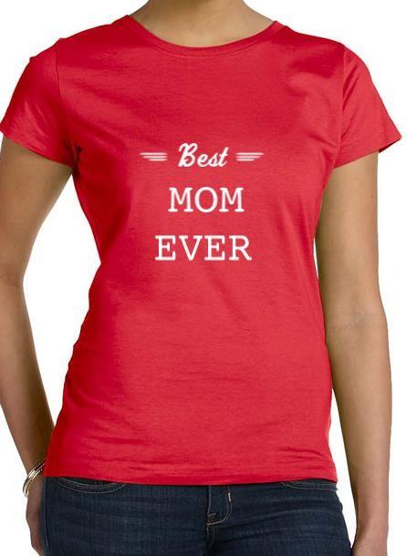 Tshirt Best Mom-Röd Tshirt Dam