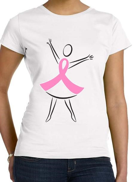 TShirt Rosa Bandet Dance- Vit Tshirt Dam