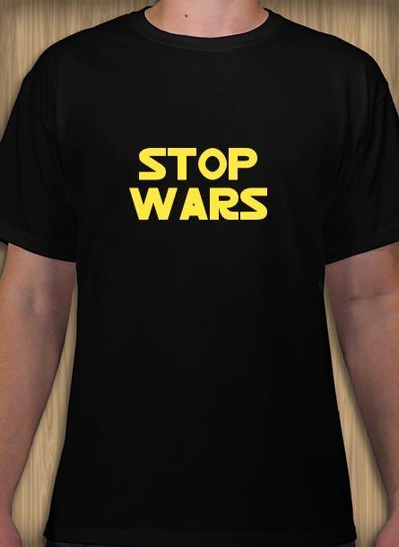 Tshirt med tryck. Tshirt med Star War Font, Stop War