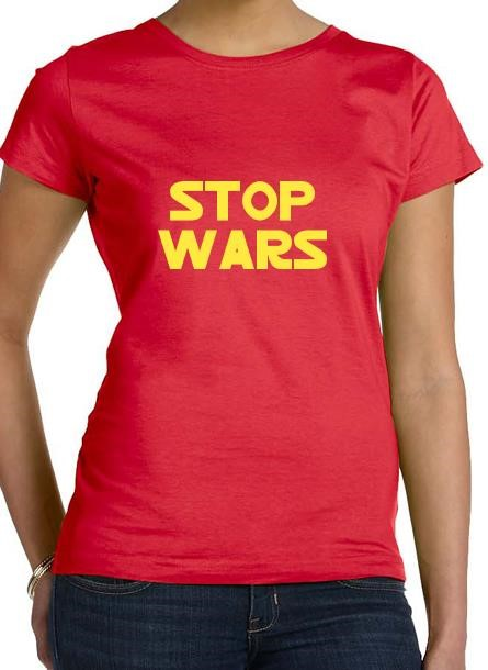 Tshirt Stop Wars-Röd Tshirt Dam