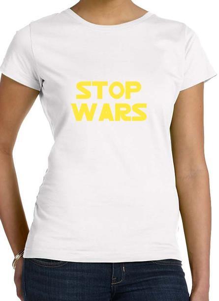 Tshirt Stop Wars-Vit Tshirt Dam