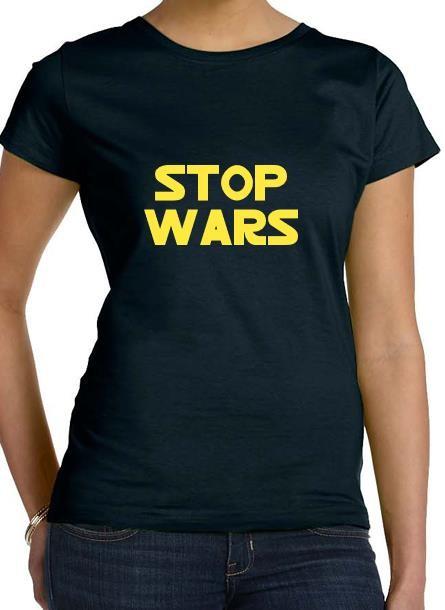 Tshirt Stop Wars-Svart Tshirt Dam