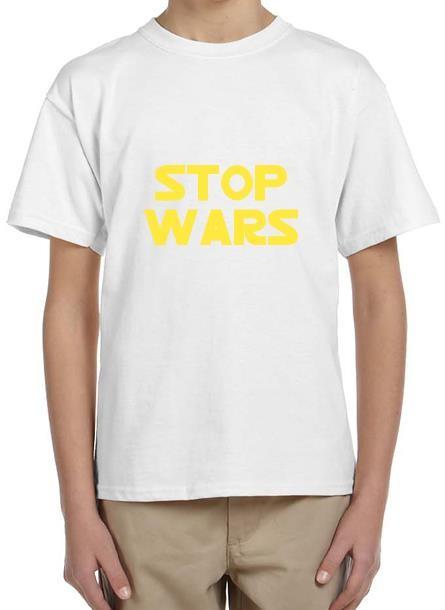 TShirt Stop Wars- Vit Tshirt Barn