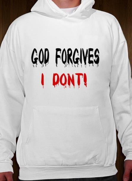 Hoodie God Forgives- Vit Hoodie