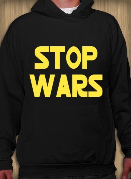 Hoodie Stop Wars- Svart Hoodie