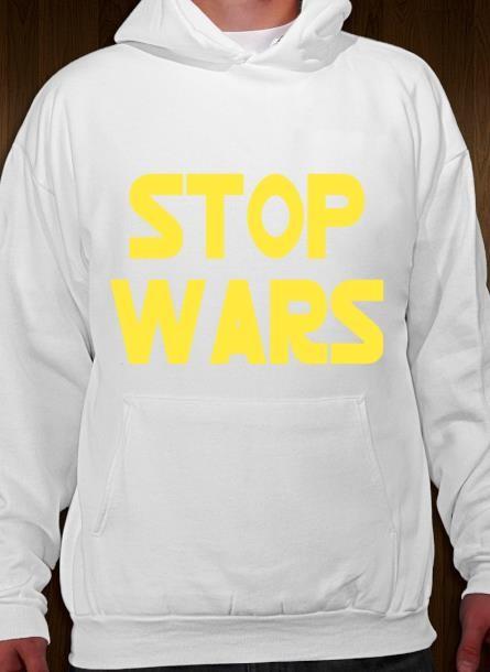 Hoodie Stop Wars- Vit Hoodie
