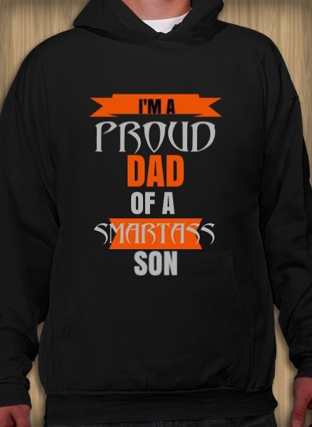 Hoodie Proud Dad Son- Svart Hoodie