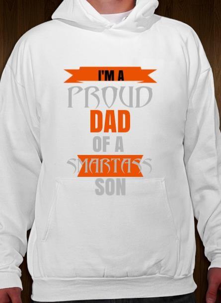 Hoodie Proud Dad Son- Vit Hoodie