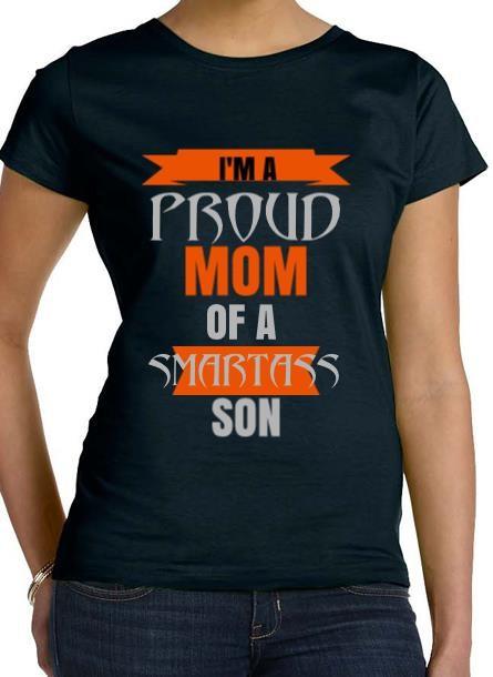 Tshirt Proud Mom Son-Svart Tshirt Dam