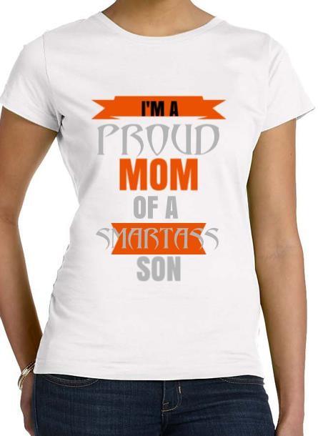 Tshirt Proud Mom Son-Vit Tshirt Dam