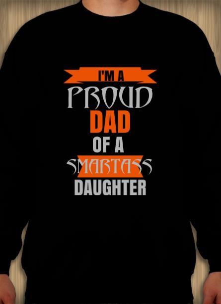 Sweatshirt Proud Dad Daughter-Svart Sweatshirt