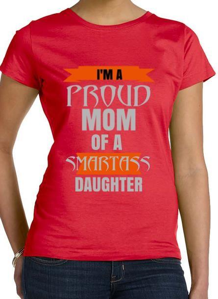 Tshirt Proud Mom Daughter-Röd Tshirt Dam