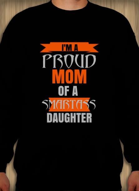 Sweatshirt Proud Mom Daughter-SvartSweatshirt