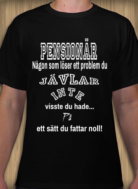 Tshirt Pensionär-Svart Tshirt Herr