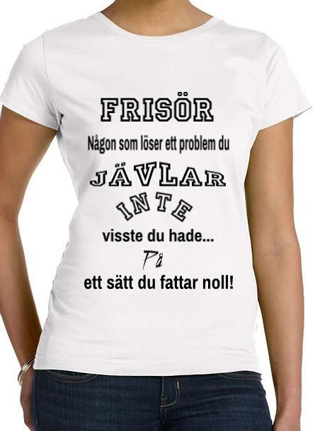 Tshirt Frisör-Vit Tshirt Dam