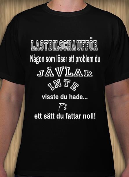 Tshirt Lastbilschaufför-Svart Tshirt Herr