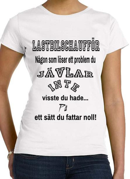 Tshirt Lastbilschaufför-Vit Tshirt Dam