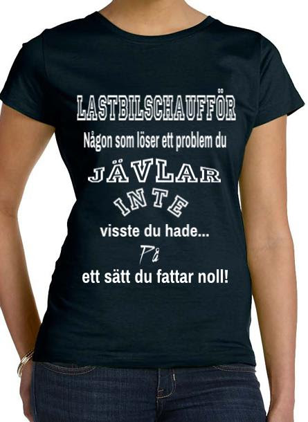 Tshirt Lastbilschaufför-Svart Tshirt Dam