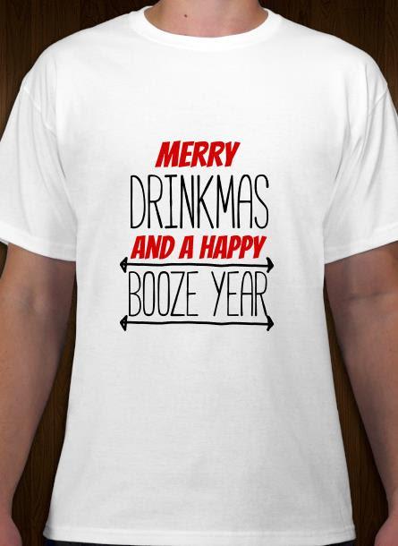T-shirt-Merry Drinkmas-Vit Tshirt Herr