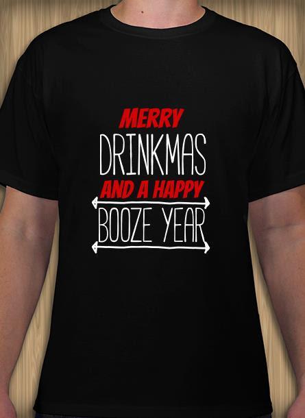 T-shirt-Merry Drinkmas-Svart Tshirt Herr