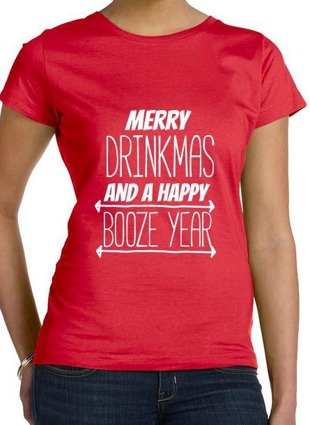 T-Shirt-Merry Drinkmas-Röd Tshirt Dam