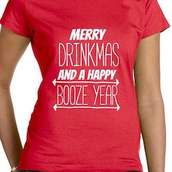 Merry Drinkmas T-Shirt Dam Svart/Röd/Vit