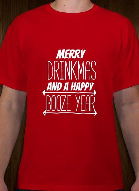 T-shirt-Merry Drinkmas-Röd Tshirt Herr