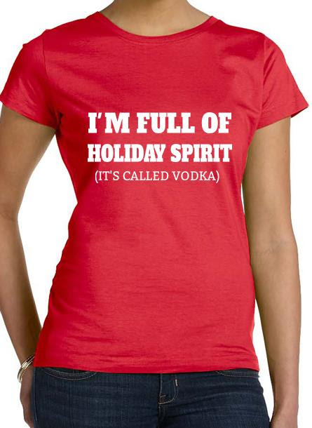 T-Shirt-Holiday Spirit-Röd Dam Tshirt