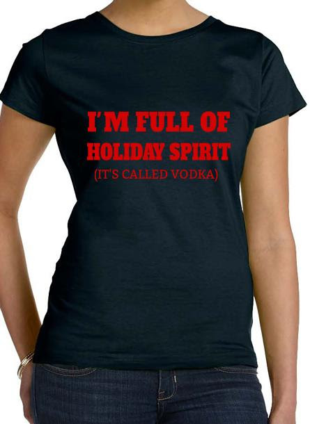 T-Shirt-Holiday Spirit-Svart Dam Tshirt