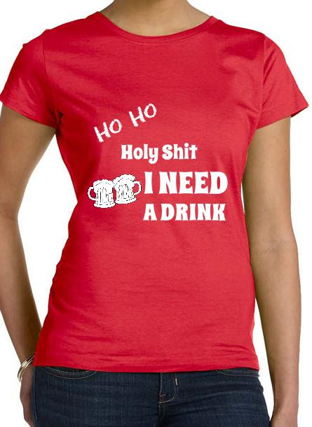 T-Shirt-Ho Ho-Röd-Tshirt Dam