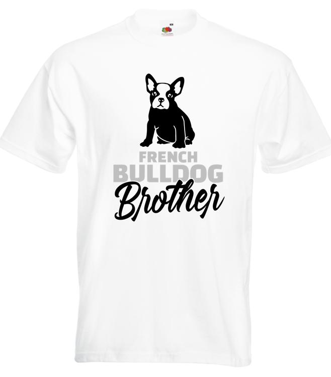TShirt-Fransk Bulldog Brother-Vit-T-Shirt-Herr