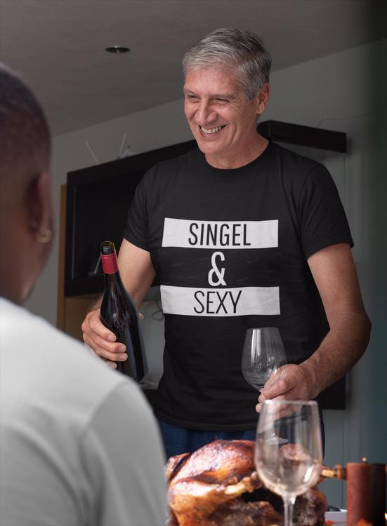 Tshirt med tryck. Single & Sexy T-Shirt. Sexy Single och tillgänglig. Sexy Tshirt Herr storlekar