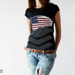 USA Flagga T-Shirt Dam