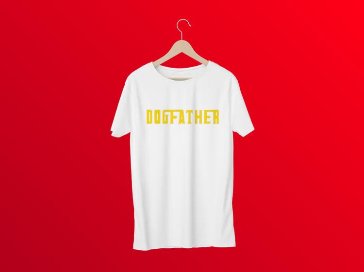 T-Shirt med tryck.Dogfather Tshirt Vit,Godfather TShirt print Men. Ge bort gåva till hundägare