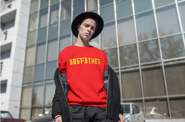 Sweatshirt-Dogfather-Röd-Unisex-Sweatshirt
