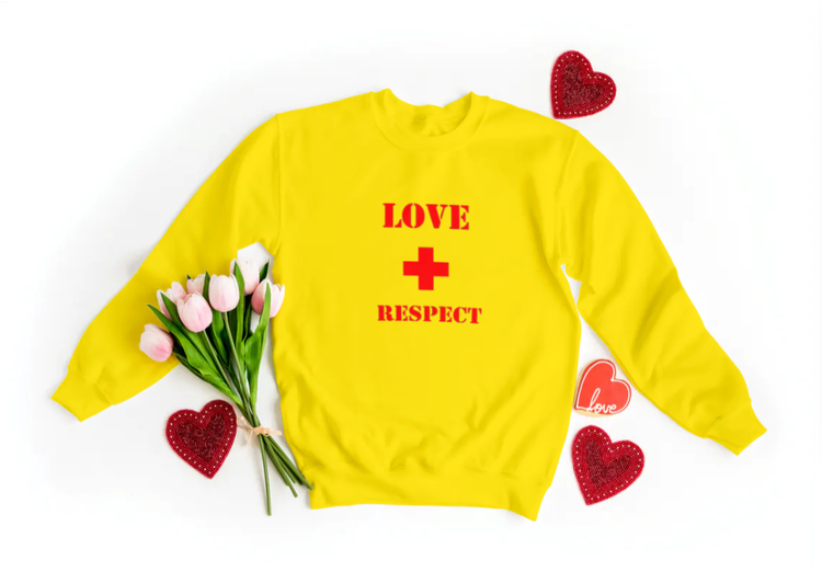 Sweatshirt med tryck-Love & Respect-Gul Sweatshirt-Display Sweatshirt-Unisex