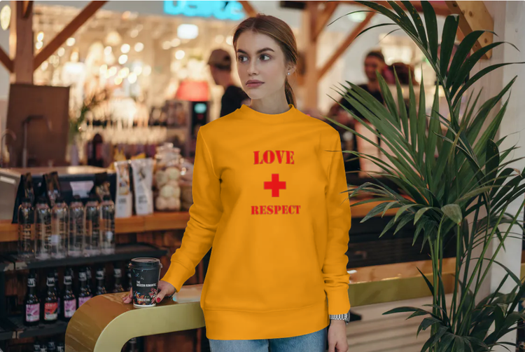 Sweatshirt med tryck-Love & Respect-Orange Sweatshirt-Female- Sweatshirt-Unisex