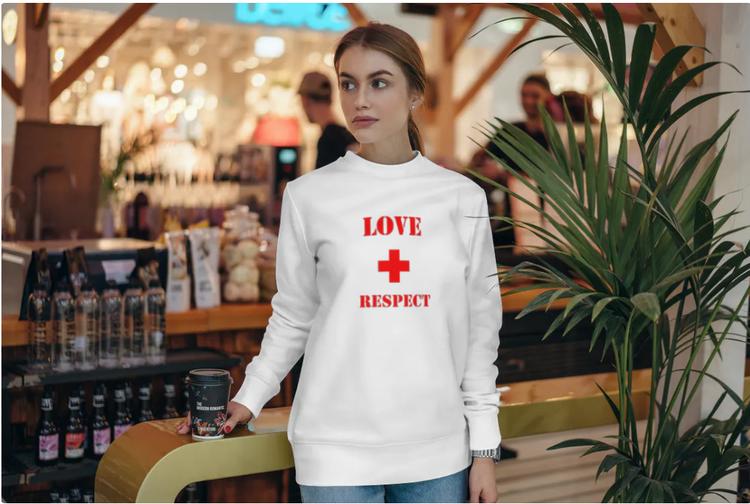 Sweatshirt med tryck-Love & Respect-Vit Sweatshirt-Female- Sweatshirt-Unisex