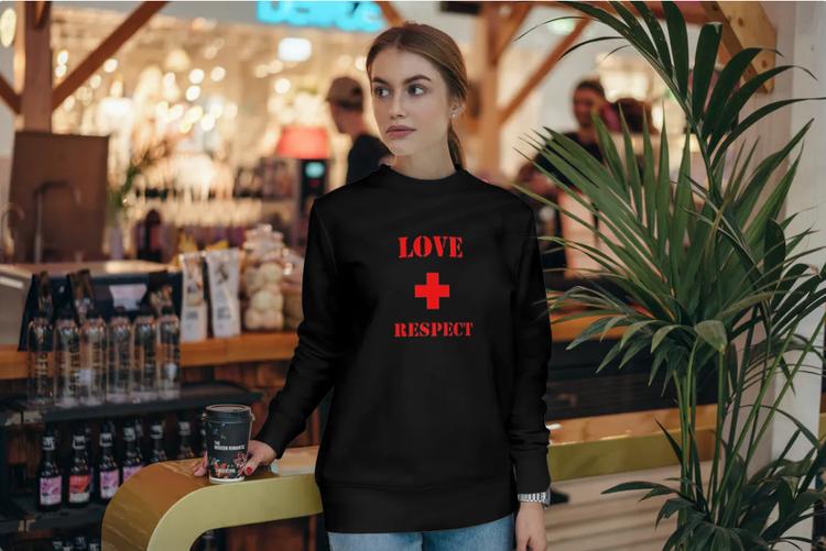 Sweatshirt med tryck-Love & Respect-Svart Sweatshirt-Female- Sweatshirt-Unisex