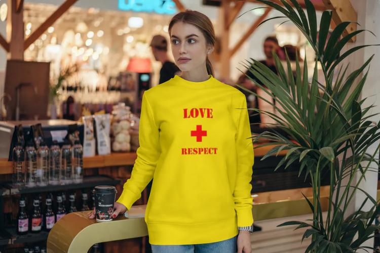 Sweatshirt med tryck-Love & Respect-Gul Sweatshirt-Female Sweatshirt-Unisex