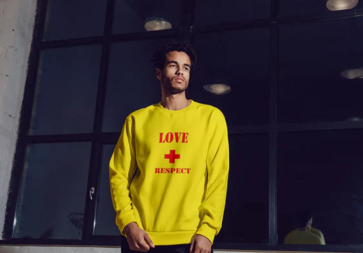 Sweatshirt med tryck-Love & Respect-Gul Sweatshirt-Herr- Sweatshirt-Unisex