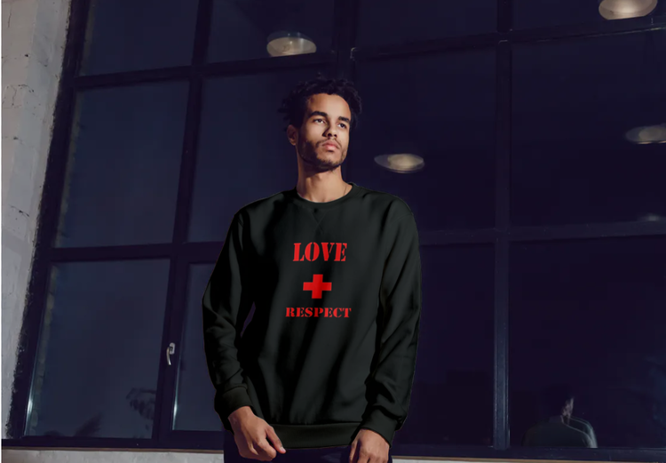 Sweatshirt med tryck-Love & Respect-Svart Sweatshirt-Herr- Sweatshirt-Unisex