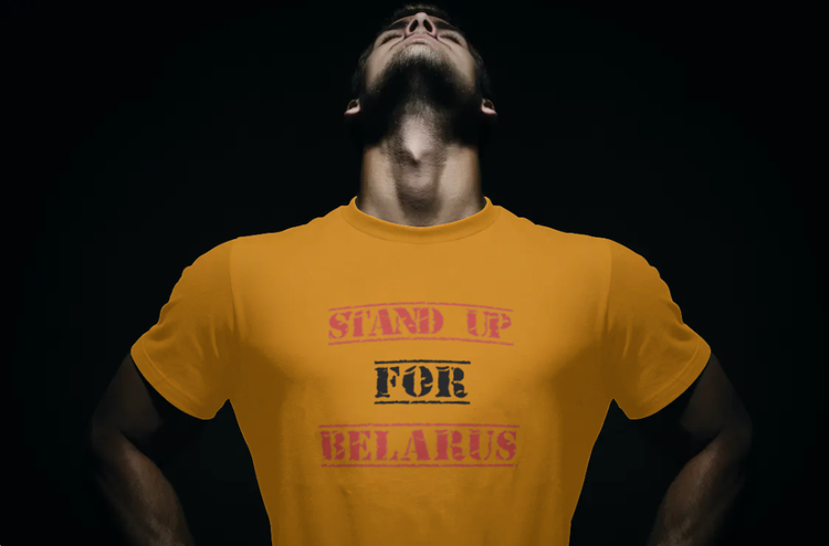 T-Shirt-Stand Up For Belarus-Orange-Tshirt Male