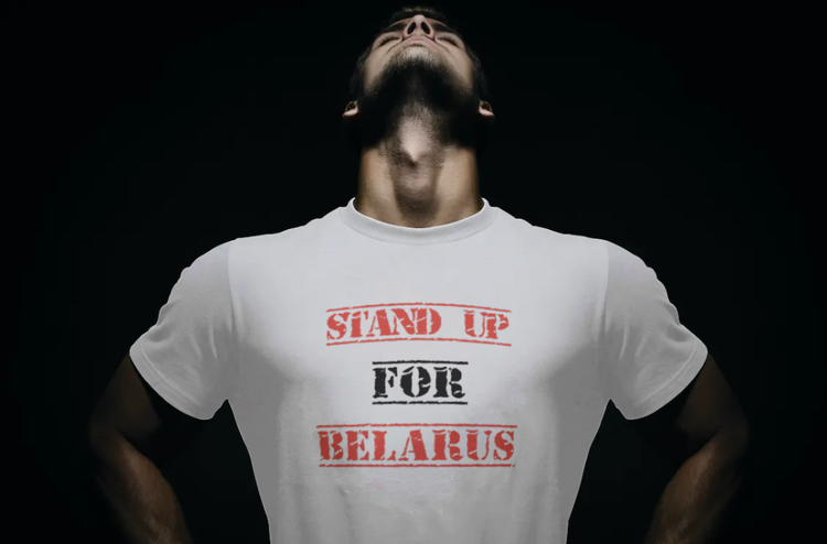 T-Shirt-Stand Up For Belarus-Vit-Tshirt Male