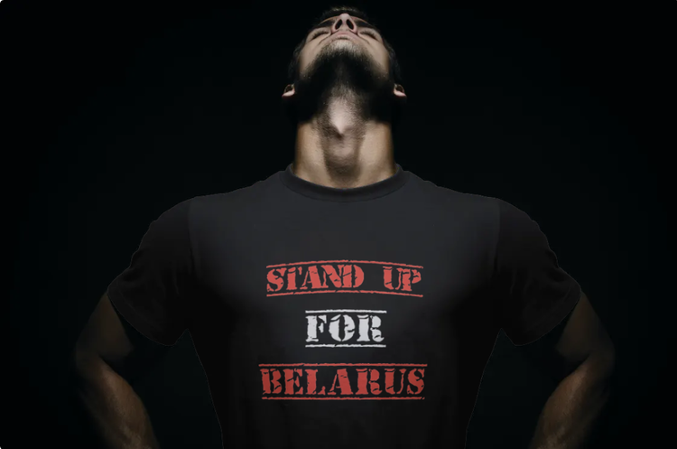 T-Shirt-Stand Up For Belarus-Svart-Tshirt Male